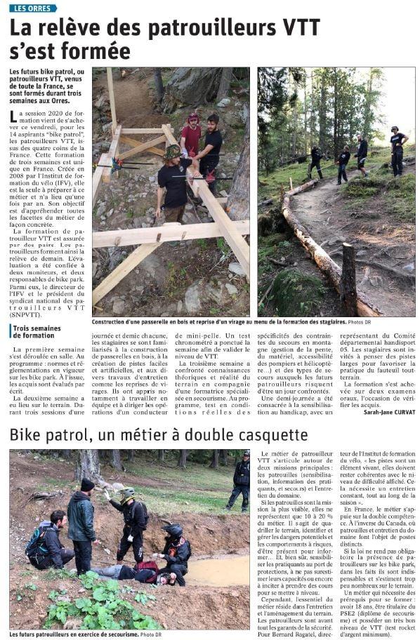 Article Dauphine Patrouilleur VTT